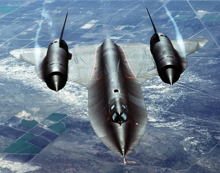 "The SR-71, unofficially known as the ""Blackbird,"" is a long-range, advanced, strategic reconnaissance aircraft developed from the Lockheed A-12 and YF-12A aircraft. The first flight of an SR-71 took place on December 22, 1964, and the first SR-71 to enter service was delivered to the 4200th (later, 9th) Strategic Reconnaissance Wing at Beale AFB, California, in January 1966. The U.S. Air Force retired its fleet of SR-71s on January 26, 1990, because of a decreasing defense budget and high costs of operation. The USAF returned the SR-71 to the active Air Force inventory in 1995 and began flying operational missions in January 1997. Throughout its nearly 24-year career, the SR-71 remained the world's fastest and highest-flying operational aircraft. An air-to-air overhead front view of an SR-71A strategic reconnaissance aircraft. The SR-71 is unofficially known as the ""Blackbird."""