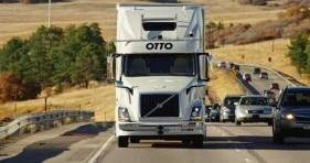 Volvo Otto, a self-driving truck maker partnered with Uber, transported the beer from the Fort Collins CDOT Fort Collins weigh station 120 miles south to Colorado Springs on Oct. 20, 2016. Photo provided by Otto/Anheuser-Busch